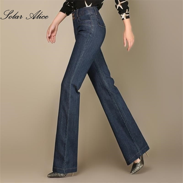 b02d491f060da Free Shipping New Women Wide Leg Embroidery Jeans Ladys Full Length Big  Straight trousers Boot Cut Flares Pants Large Size 27-38