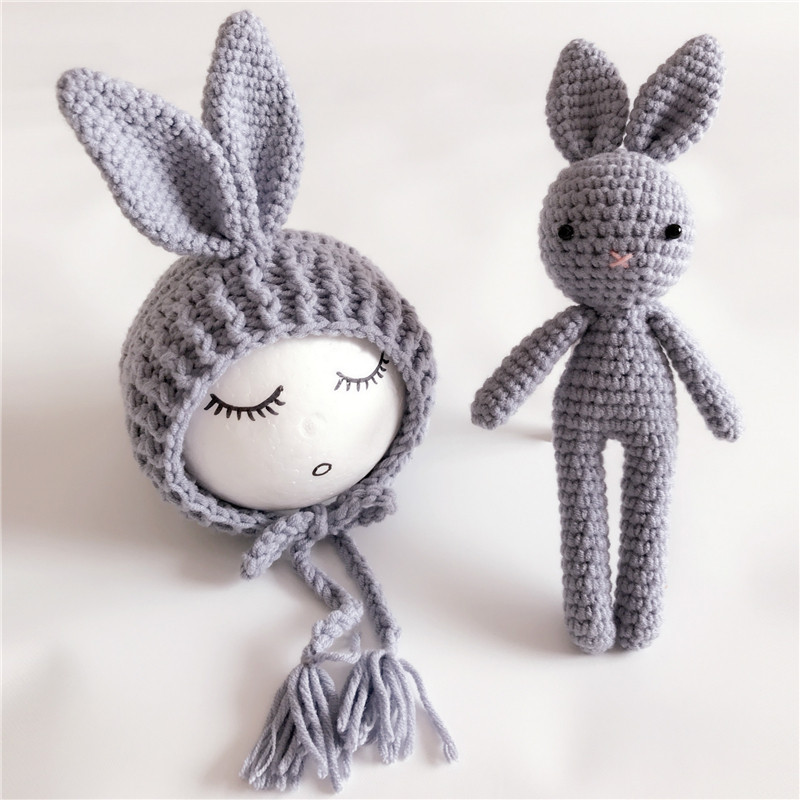 Cute Knit Crochet Rabbit Toy for Baby Girls and Boys Photography Prop Outfit Nano Doll New Year Gift Kid Toys cool newborn baby girls boys crochet knit costume photo photography prop outfits cute baby clothes sets