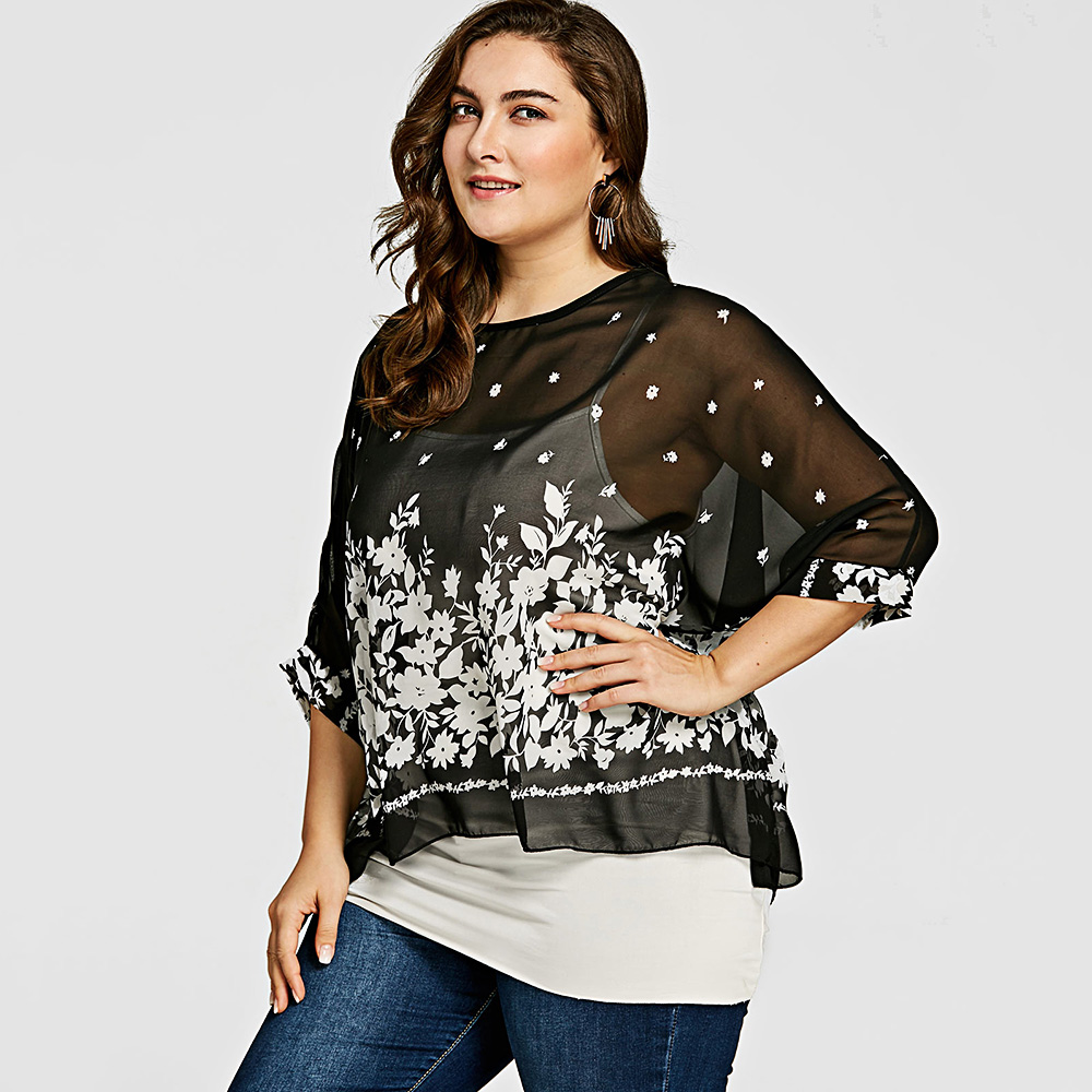 e14155a5de905 AZULINA Semi Sheer Plus Size Leopard Stripe Floral Batwing Sleeve Chiffon  Blouse New Summer Women Tops And Blouses Casual Blusas-in Blouses   Shirts  from ...