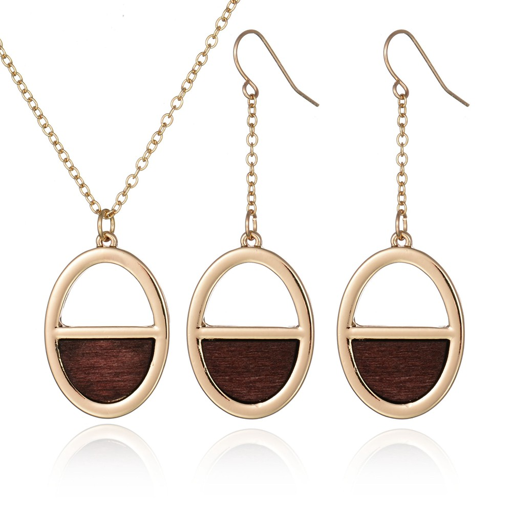 2017 New Vintage Gold Color Oval Wood Charm Necklace Earrings Set ...