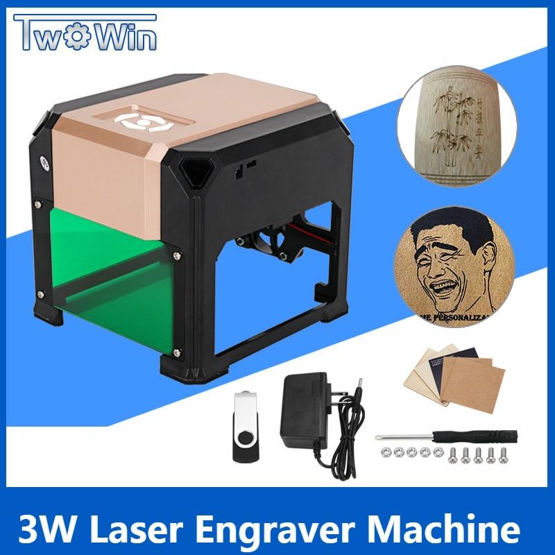 3000 mW USB Desktop Laser Stecher Palette 80x80mm Maschine DIY Logo Mark Drucker Cutter CNC Laser Carving maschine Gravur
