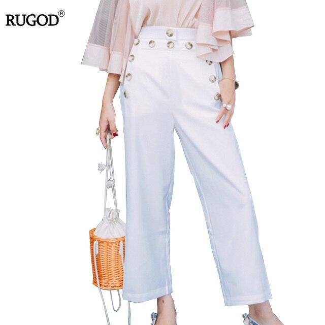 100% authentic 1048c 4b5ce Rugod-Femmes-Pantalons-Jambes-Larges-Pantalons-2018-t-Perlant-Occasionnel -Pantalon-Femme-Blanc-Taille-Haute-Pantalon.jpg 640x640.jpg