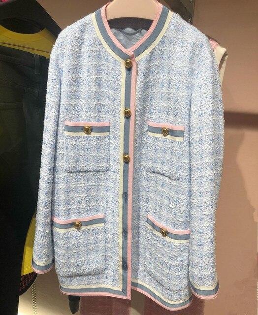 Chất lượng cao tweed áo khoác phụ nữ áo khoác 2019 mùa xuân thanh lịch áo khoác vải tuýt G080