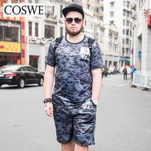 Coswe 6XL мужчин камуфляж печати мужские костюмы модные короткий рукав футболки с пляжные шорты Марка Плюс Размеры повседневный костюм мужской набор