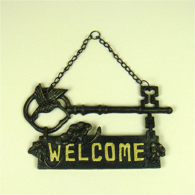 Pig Iron Hummingbird Welcome Sign Door Hanging Metal Antique Key ...