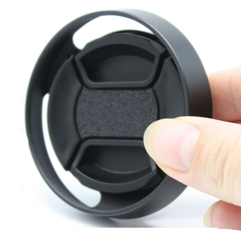 58mm, Black Roolad Metal Lens Hood for DSLR and Mirrorless Camera Lens Protect Accessory with Lens Cap