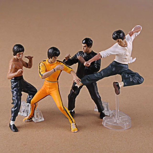 4pcs/set Bruce Lee Kung Fu Fight action figure PVC toys collection doll anime cartoon model for Christmas gift 24cm pvc deadpool action figure breaking the fourth wall scene dead pool kids birthday christmas model gift toys