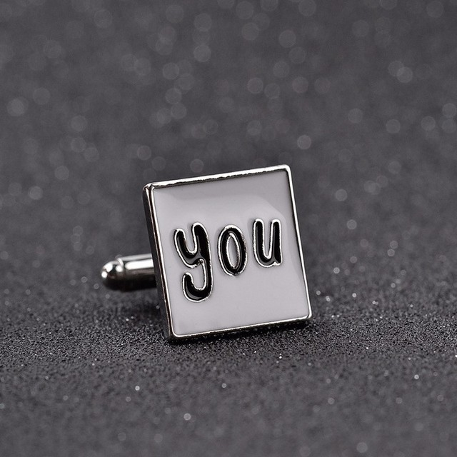 Square I Love You Enamel Cuff Links Cufflink Link French Business Shirt Unique Wedding Groom Men's