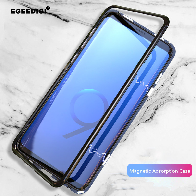 Egeedigi Magnetic Metal Case For Samsung Galaxy S9 S8 S10 Plus Note 8 9 Magnet Bumper Clear Glass Cover