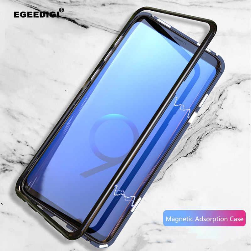 Магнитный металлический чехол Egeedigi для samsung Galaxy S9 S8 S10 Plus Note 8 9, Магнитный чехол-бампер, прозрачная стеклянная крышка для samsung, чехол