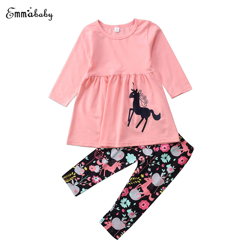Lovely Toddler Kids Girl Long Sleeve Horse Print Mini Dress Tops Floral Print Pant Legging 2PCS Outfit Children Clothes Set 1-7Y