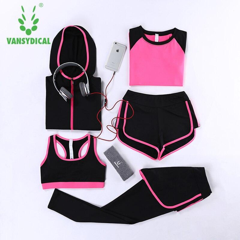 Survêtements pour femmes collants Leggings 5 pièces femmes Gym Fitness Yoga costume Sport Costumes pour femmes Jogging Sportswear ensembles de course