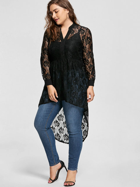 Gamiss Women Plus Size Blouse Autumn peplum Long Sleeve High Low Lace Shirts Tunic Through Button Up Women Tops and Blouse 5XL 3