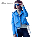 Blue Faux Leather Jacket Women Short Motorcycle Jacket Jaqueta De Couro Casaco Feminino Veste En Cuir Femme With Belt Brand Coat