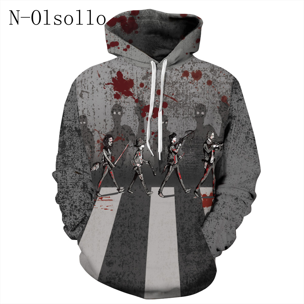 Women's Clothing N-olsollo Autumn Styles 3d Blood Handprint Punk Rock Harajuku Tops Workout Jogger Runs Hoodies With Pocket Casual Tracksuits