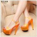 Color Del Caramelo Del verano Zapatos de Mujer de Cristal Transparente Sandalias de Plataforma Bombas de Las Mujeres 34-44 Tamaño Grande Moda Colores 15 CM zapatos de Tacón alto