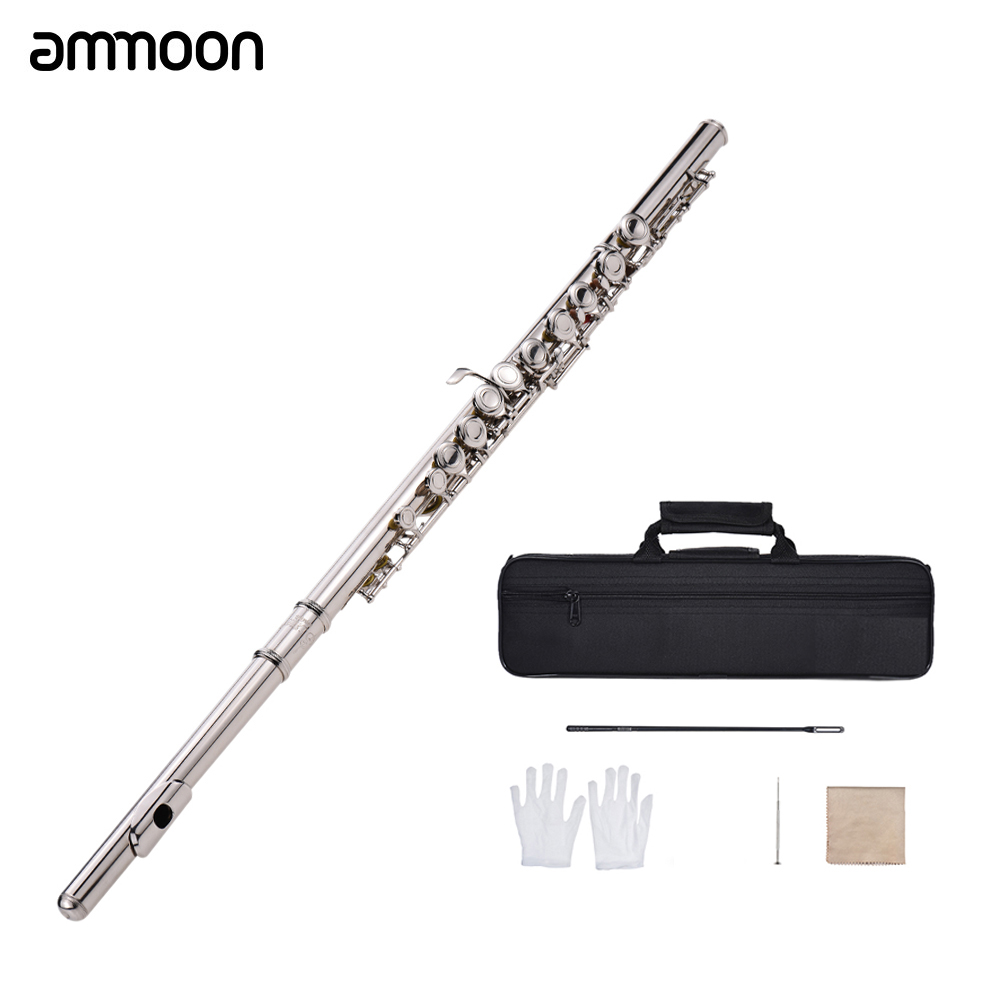 Western Concert Flute Silver Plated 16 Holes C Key Cupronickel Musical Instrument with Cleaning Cloth Stick