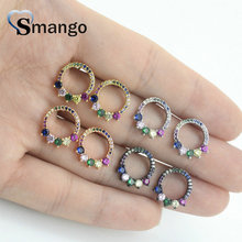 5 Pairs,The Rainbow Series,The Circle Shape Earrings for Women,Fashion Design, 4 Plating Color,Can Mix Can Wholesale