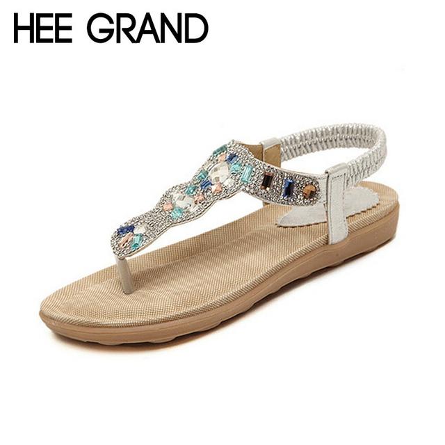 Hee grand as mulheres sandálias flat com bling rhinestone moda flip flop de alta qualidade bohemia praia sapatos mulher plus size xwz1926