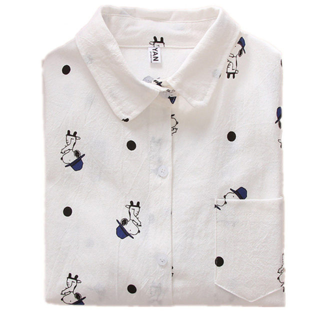 Women Blouses Cartoon Dog Bee Print Tops Female Long Sleeve Plus Size 2Xl 3Xl Shirts Ladies Clothing Cotton Fashion Women Shirts