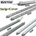 Factory Wholesale 5pcs*50cm DC 12V 36 SMD 5630 5050 7020 8520 Hard Rigid LED Strip Light with U Aluminium shell + pc cover