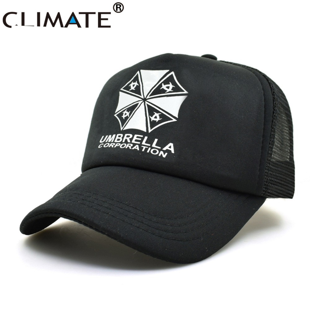CLIMATE 2017 New Resident Evil Umbrella Summer Cool Black Mesh Trucker Caps Adjustable Men Women Summer Cool Baseball Caps Hats climate new summer cool black mesh trucker caps guardians of the galaxy groot fans printing meh youth nice mesh cool summer caps