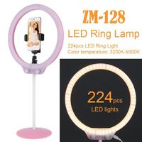 ZM 128 Camera Photo Studio Phone Video 58W 224Pcs LED Ring Light 5500K Photography Dimmable Makeup Ring Lamp With 200CM Tripod