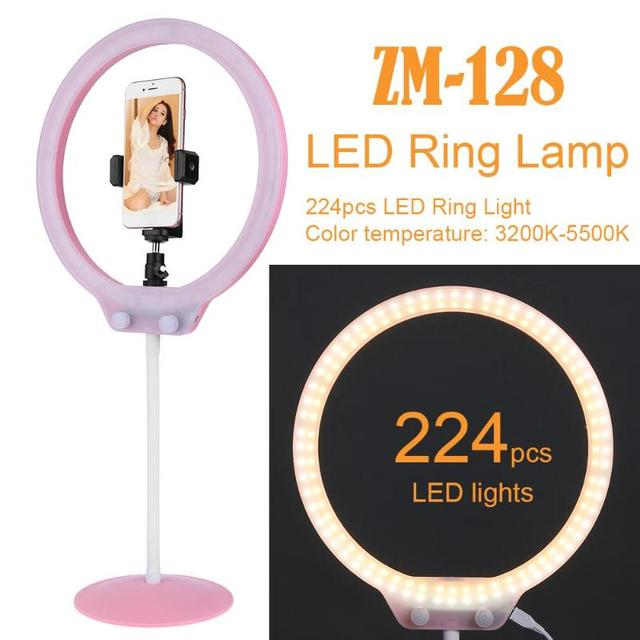 ZM-128 Camera Photo Studio Phone Video 58W 224Pcs LED Ring Light 5500K Photography Dimmable Makeup Ring Lamp With 200cm Tripod