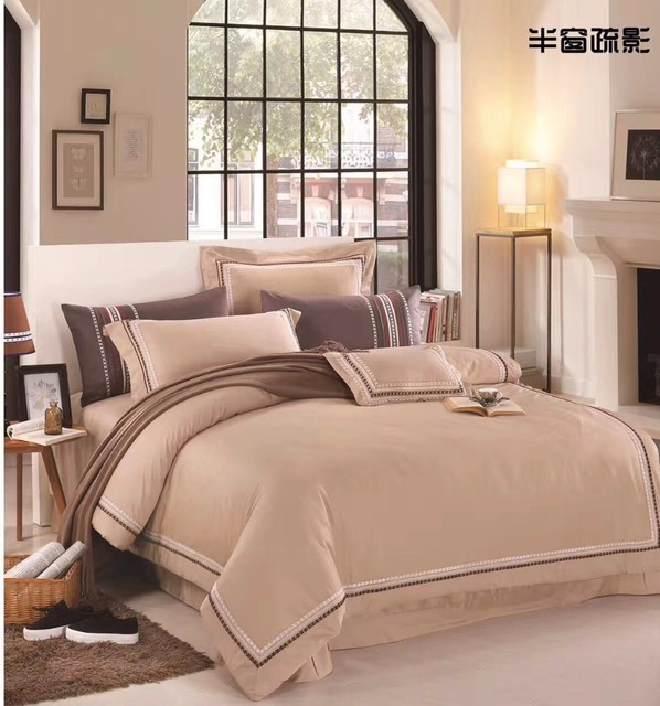 2017 Egypt Cotton Luxury Hotel Bedding Set Queen/King Size Embroidery Bed  Set Duvet Cover
