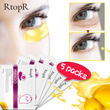 10pcs=5packs Eye Mask Mango Vitamin C Hydrating Anti-Aging Skin Serum Gold Patches Care Remove Wrinkle Dark Circle Puffiness