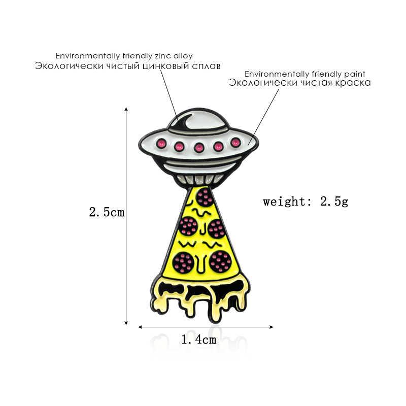 UFO Lucu Pizza Bros Ruang Alam Semesta Lencana Berbentuk Pesawat Ruang Angkasa Galaxy Bros Anak-anak Menjelajahi Alam Semesta Misteri Lencana Hadiah