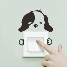 DIY Funny Cute dog Cat Switch Stickers Wall Home Decoration Bedroom Parlor A-17