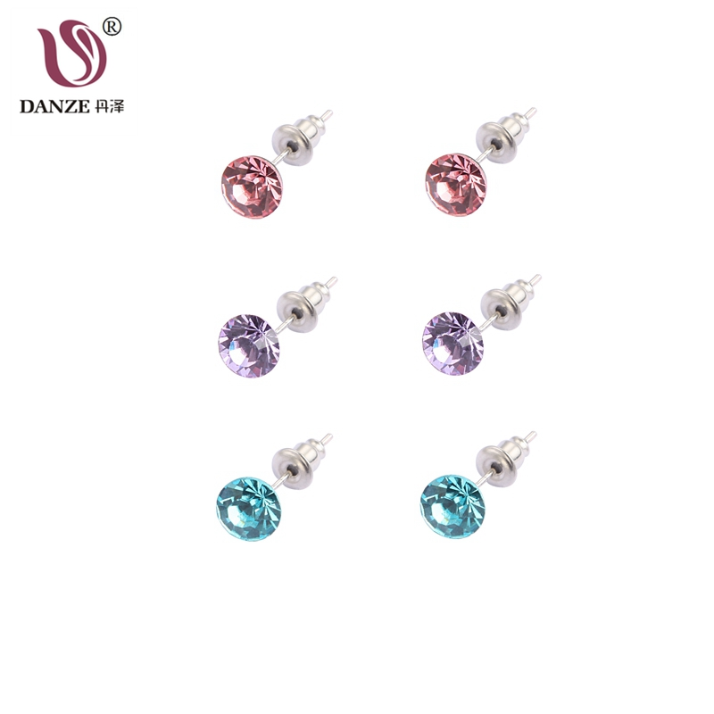DANZE 3 Pairs/lot Simple Colorful Crystal Rhinestone Stud Earrings Set For Little Girls Women Jewelry Gift for Child Aros