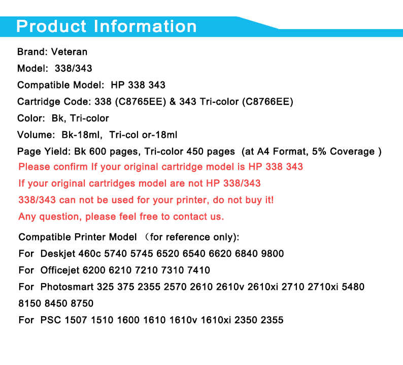 Veteran Uyumlu hp mürekkep kartuşları 338 343 hp Deskjet 460c 5740 5745 6520 6540 6620 6840 9800 6200 6210 5480 Yazıcı