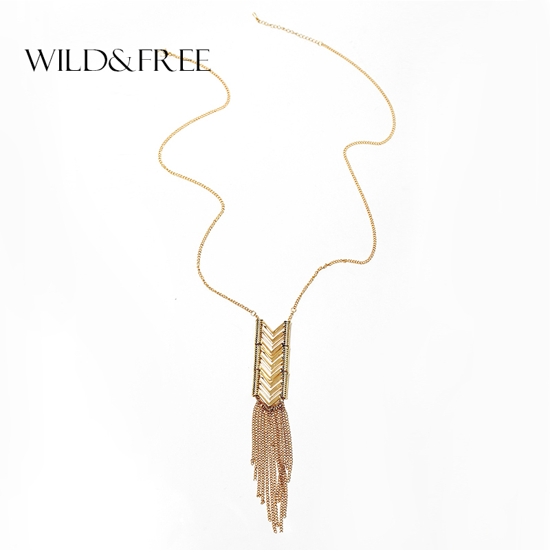 Wild & Free Women Gold Tassel Pendant Necklace Gold / Silver Alloy Arrow Pendients Collar de cadena larga Collares Joyería de la boda Regalo
