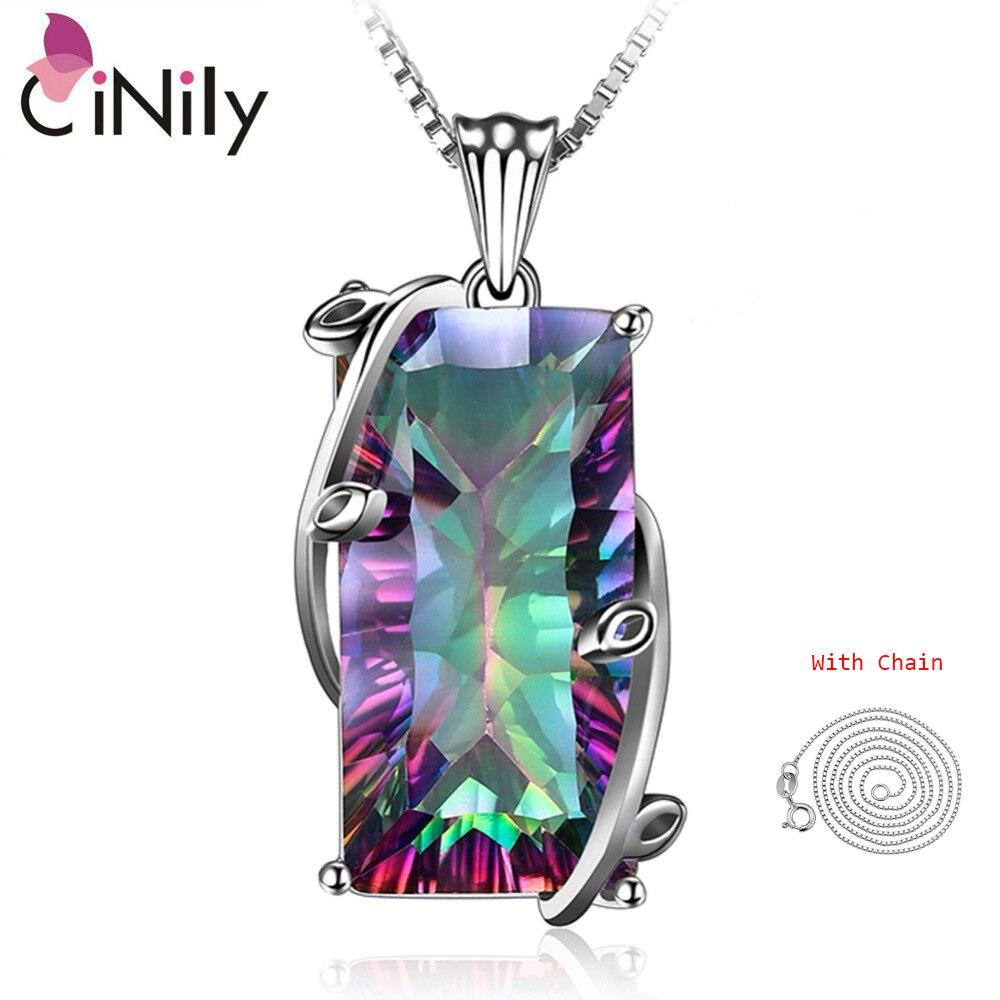 CiNily gran arco iris místico piedra collar y colgante de cadena de plata de ley 925 pendientes encanto étnico, tribu de la joyería de las mujeres
