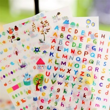 6sheets / set Creative transparent PVC kawaii stickers cute photo album decorative puzzle child DIY toy free letters