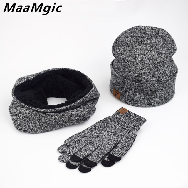 c2ca291fd12 A Set Of Men Women Winter Hats Scarves Gloves Cotton Knitted Hat Scarf Set  For Male Female Winter Accessories 3 Pieces Hat Scarf