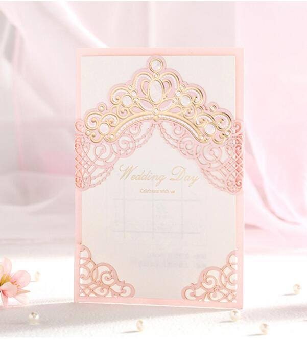 Pink Laser Cut Bronzing Crown Wedding Party Invitation Cards Customized Marriage Engagement Invitations 100PCS Express Shipping