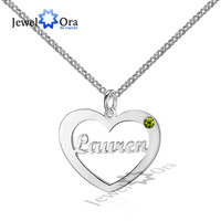 Birthstone Name Necklace 925 Sterling Silver Personalized Heart Necklaces Pendants DIY Christmas Gift JewelOra NE101532