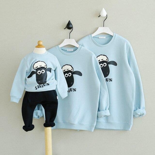 Дети Овец Шаблон Блузка Мать Дочь Сын Отца Детская Одежда Семья Посмотрите Соответствующие Наряды Одежды Зимнее Пальто Топы Футболки