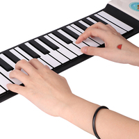 USA Shipping 49 Keys 129 Tones Digital Electronic Organ Roll Up Child Keyboard Piano Foldable Silicone Keyboard Piano