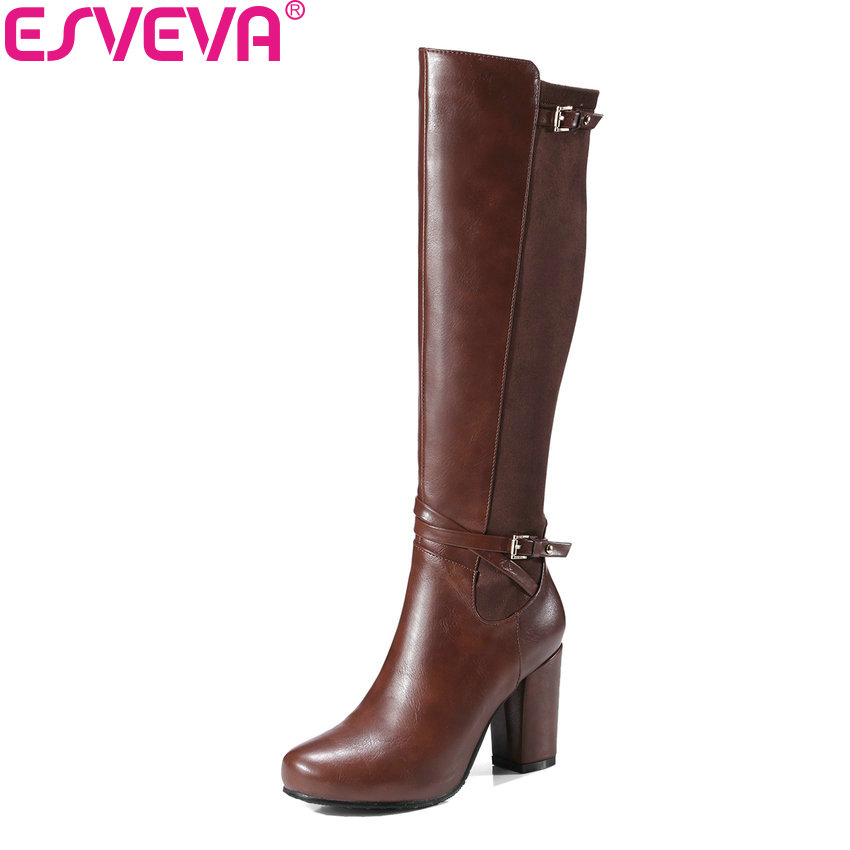 ESVEVA 2018 Women Boots Round Toe Western Style PU Warm Fur Knee-high Boots Square High Heels Fashion Ladies Boots Size 34-43 esveva 2018 synthetic pu women boots square high heels ankle boots round toe fashion short boots zippers ladies shoes size 34 42