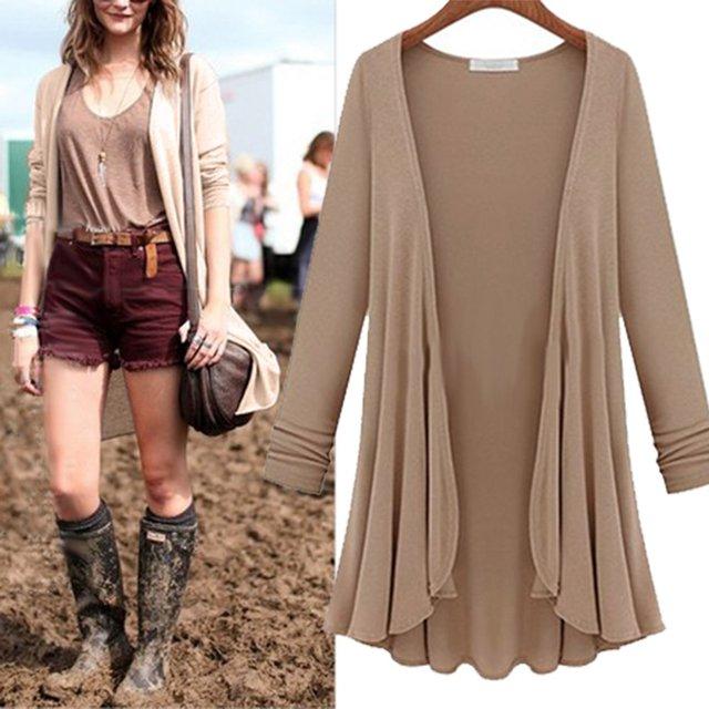 Women Fashion Cotton Top Thin Blouse Long Sleeve Summer Cardigan Sweater Coat Big Size Flounce