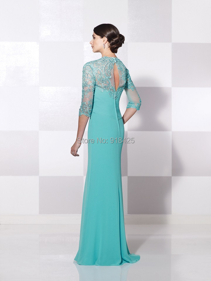 abc6939518d New Arrival Turquoise Mother of the Bride Dress with Sleeves Lace Appliques  Chiffon Gown Country Western MG185-in Mother of the Bride Dresses from  Weddings ...