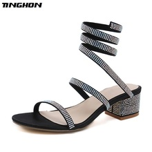 TINGHON Fashion Summer Style Thick Heel Gladiator Sandals Women Flat Sandals Snake Punk Rhinestone High Heels Dress Shoes sexy flat rhinestone sandals snake style design flip women s sandals crystal decoration lady cute party silver shoes for dress