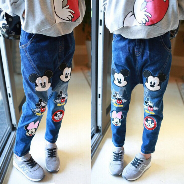 2016 Корейских детская одежда для мальчиков и девочек мультфильм джинсовые стрейч джинсы ребенок ноги шаровары