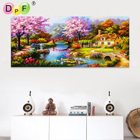 DPF 5D Full Round Diamond Painting Cross Stitch Oil Cabin Crafts Diamond Embroidery Mosaic Needlework Home