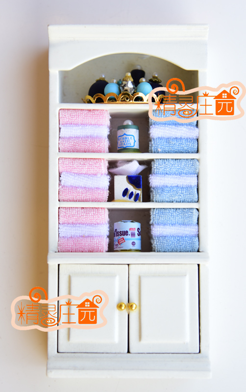 G05 X454 children baby gift Toy 1:12 Dollhouse mini Furniture Miniature rement Bathroom towel cabinet 1pcs
