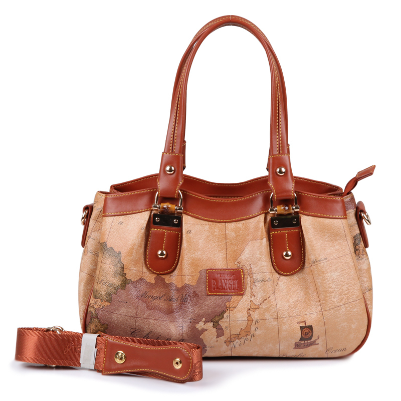 2017 new  arrival classic fashion vintage map shoulder bag female handbag world map message bags #309 for wholesale & retail classic world классический самолет 27 деталей